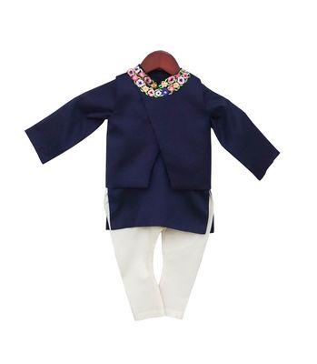 Blue Embroidery Jacket with Kurta & Churidar