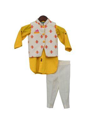 Multi Colour Bootie Nehru Jacket with Yellow Kurta & Pant