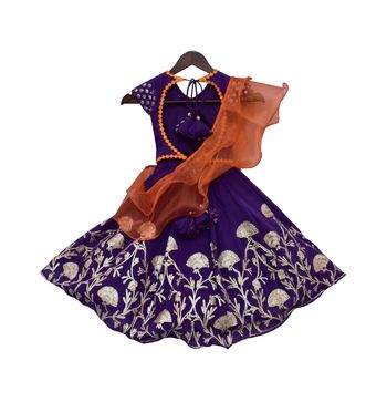 Purple Embroidery Choli with Purple Gota Lehenga