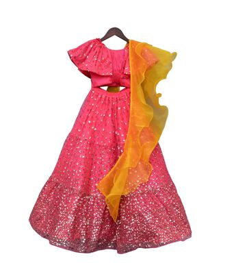 Hot Pink Sequence Top with Lehenga
