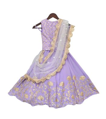 Light Purple Embroidery Choli with Lehenga