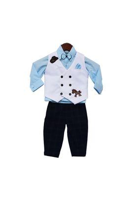 Powder Blue Shirt with Black Check Pant & White Horse Print Waist Coat