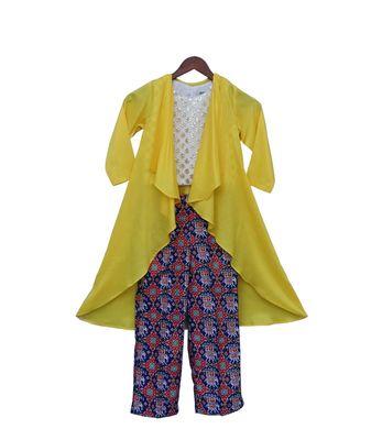 Yellow Long Shrug with Patola Printed Pant