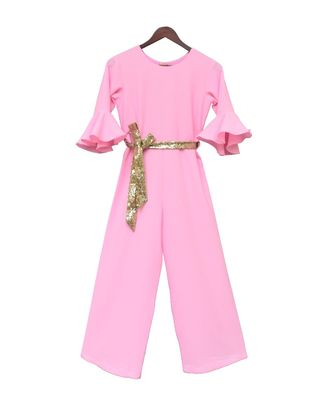 Pink Georgette Jumpsuit with Gold Sequence Belt