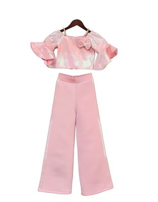 Baby Pink Sequence Top with Pant