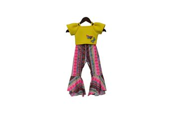 Yellow Lycra Crop Top with Printed Pant