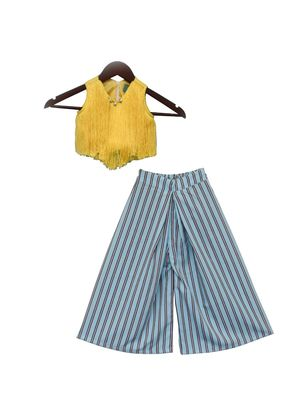 Yellow Fringe Top with Pleated Pant