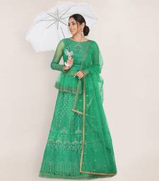 Green embroidered net semi stitched lehenga