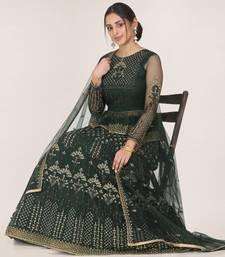 Dark-green embroidered net semi stitched lehenga