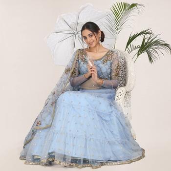 Light-blue embroidered net semi stitched lehenga
