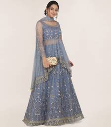 Light-blue embroidered net semi stitched lehenga