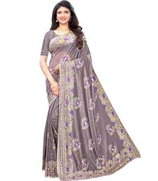 Purple woven lycra saree with blouse
