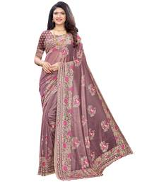 Pink woven lycra saree with blouse