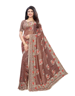 Brown woven lycra saree with blouse