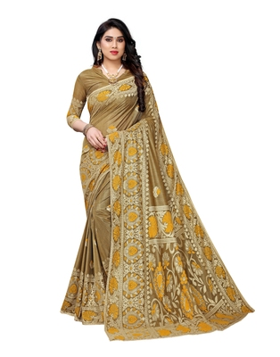 Mustard woven lycra saree with blouse