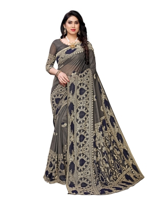 Navy blue woven lycra saree with blouse