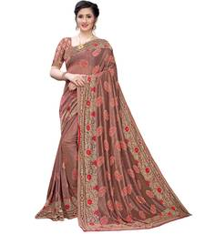 Red woven lycra saree with blouse