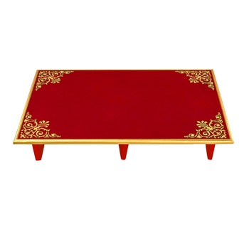 red Home Wooden Patala Pooja Chowki End Table navratri Puja Footstool Diwali decorations Gifts 24 x 15 x 4 Inch