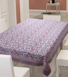 TEXSTYLERS Cotton Canvas 200 TC Block Printed 6 Seater Table Cloth Cover