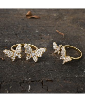 beautiful golden  butterfly design classy delicate cute ring