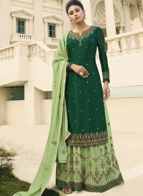 Green and Gold Embroidered Palazzo Suit