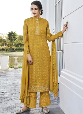 Mustard Embroidered Palazzo Suit