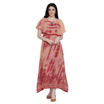 Red printed georgette ethnic-kurtis
