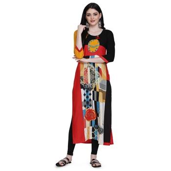 Red printed cotton ethnic-kurtis