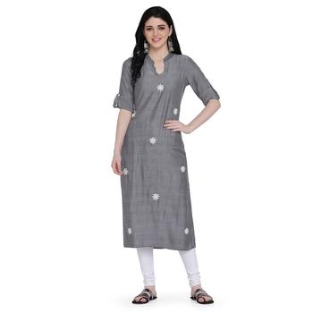 Grey printed rayon ethnic-kurtis