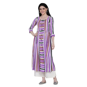 Purple printed rayon ethnic-kurtis