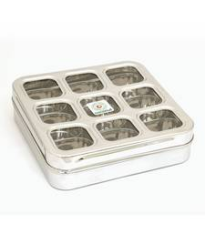 coconut Stainless Steel Masala Box -Square Cubic See thru Lid - Spice box - Condiment box - 9 partition