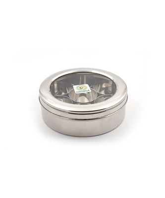 coconut Stainless Steel Masala Box/Spice Box/Condiment Box with See Through Break Resistant Acrylic lid - 8 inches Wide