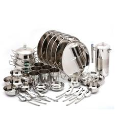 coconut Stainless Steel Heavy Guage Mirror Finish Dinner Set/Dinnerware & Serveware - 42 Pc