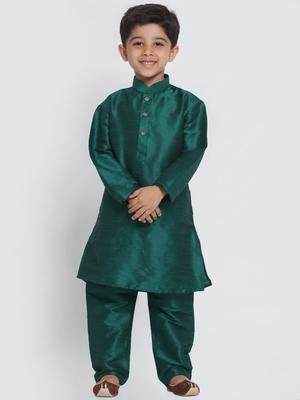 Green self design silk blend boys-kurta-pyjama