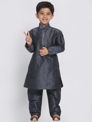 Grey self design silk blend boys-kurta-pyjama