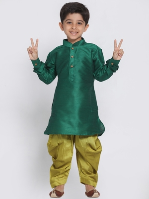 Green self design silk blend boys-dhoti-kurta