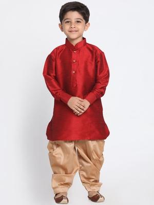 Maroon self design silk blend boys-dhoti-kurta