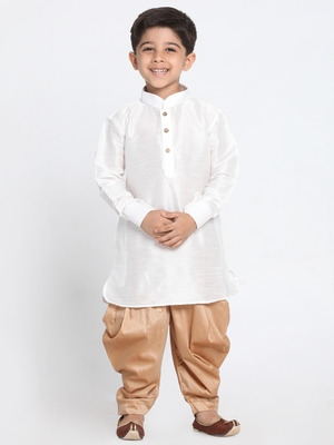 White self design silk blend boys-dhoti-kurta