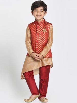 Gold printed silk blend boys-kurta-pyjama