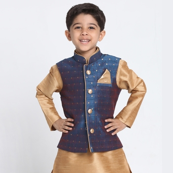 Blue printed silk blend boys-blazer