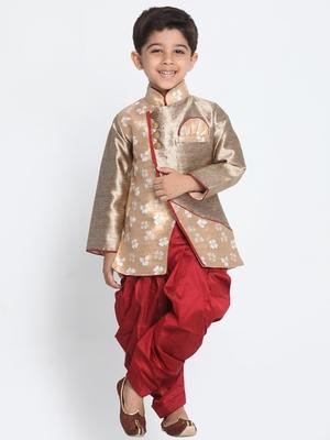 Gold printed silk blend boys-dhoti-kurta