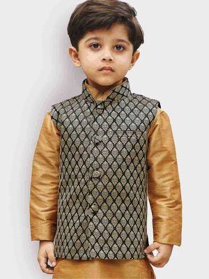 Black printed silk blend boys-blazer