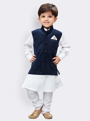 White printed cotton boys-kurta-pyjama