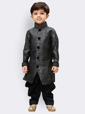 Grey printed silk blend boys-sherwani