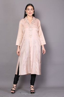 Beige embroidered rayon cotton-kurtis