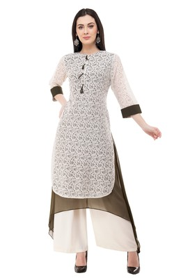 White embroidered georgette cotton-kurtis