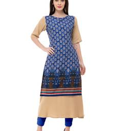 Blue embroidered georgette cotton-kurtis