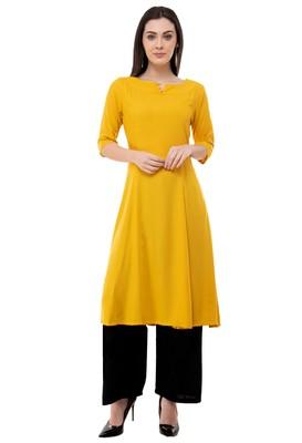 Yellow embroidered crepe cotton-kurtis