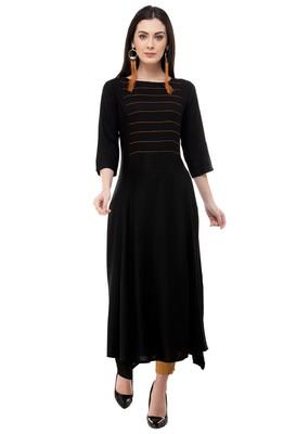 Black embroidered rayon cotton-kurtis