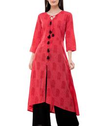 Red embroidered crepe cotton-kurtis